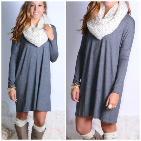 Everest Eves Charcoal Solid Long Sleeve Dress - Fall Fashion ...