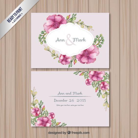 花とレトロな結婚式のカード 無料ベクター