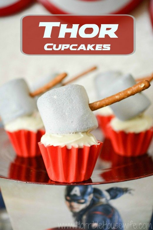 Thor Hammer Cupcakes | http://horriblehousewife.com/2015/04/thor-hammer-cupcakes/