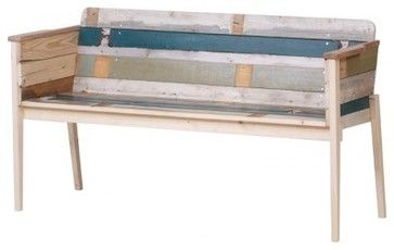 Bench with Back in Scrapwood contemporary benches