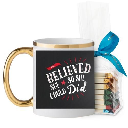 She Believed Whimsy Mug, Gold Handle, with Ghirardelli Assorted Squares, 11 oz, Black