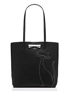 on purpose embroidered leather cat tote by kate spade new york