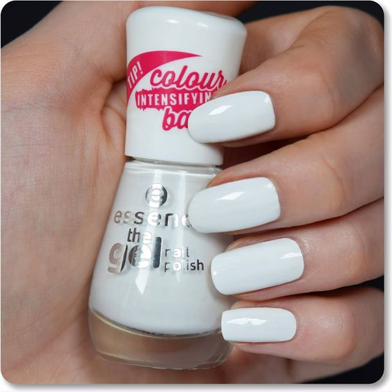 "white nail polish with great coverag ""the gel nail polish"" in the colour ""33 wild white ways""."