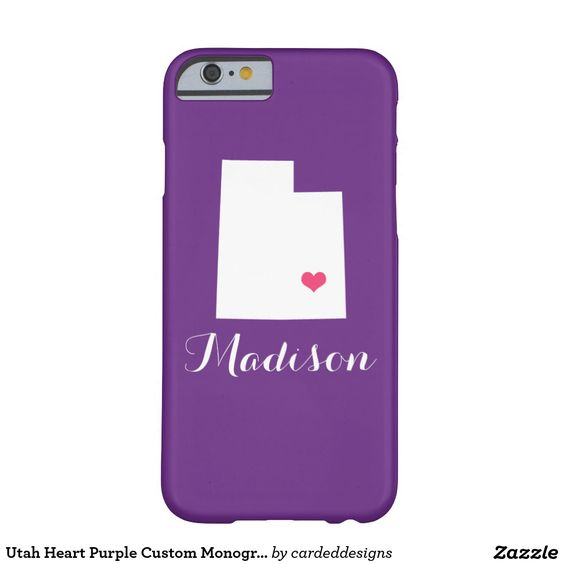 Utah Heart Purple Custom Monogram Barely There iPhone 6 Case