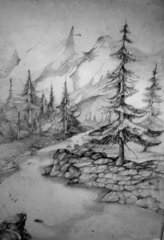 Landscape drawings landscapes and drawings on pinterest for Landscape pencil sketches simple