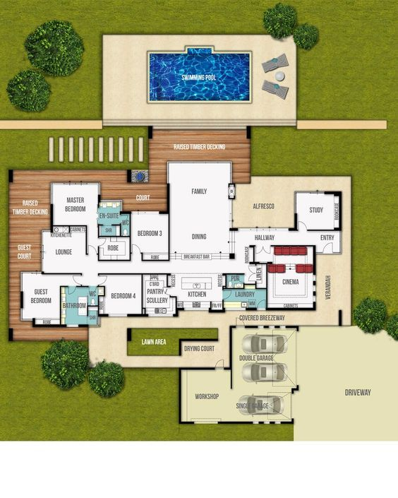 Designed To Take Full Advantage Of The Front Facing Views This Rural Floor Plan Is Filled With Great F Country Floor Plans Floor Plans Split Level Floor Plans