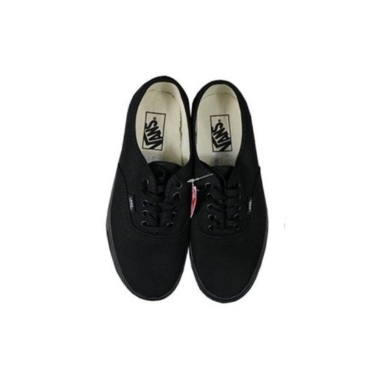 Vans Authentic Black/Black Trainers (908.075 IDR) found on Polyvore featuring shoes, sneakers, vans, footwear, kohl shoes, vans shoes, vans footwear, vans sneakers and black shoes