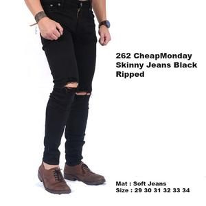 celana jeans hitam cowok pria ripped Murah