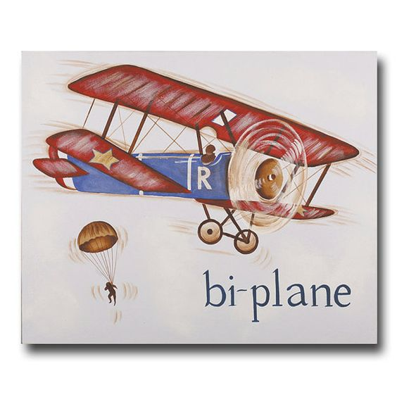 Airplane canvas vintage plane decor bi plane Vintage airplane decor for nursery