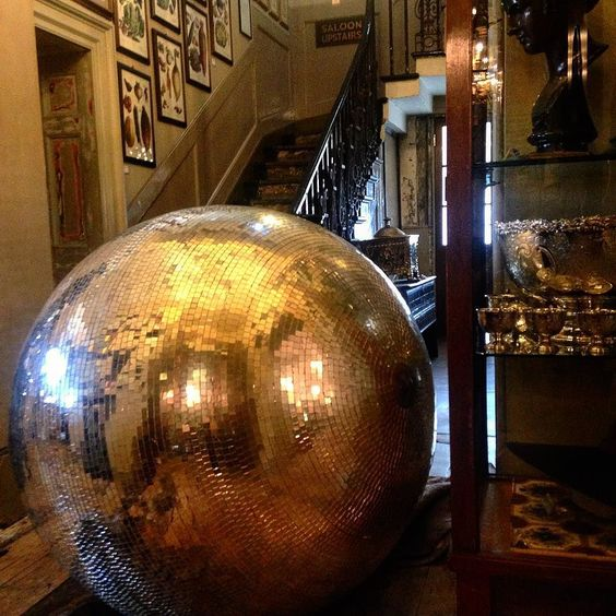 Indian Jones and the Temple of Boom Spielberg does Vauxhall world's biggest mirror ball rolling down the stairs and into the dining room at @brunswickhse  #BrunswickHouse #Interiors by jackson_boxer