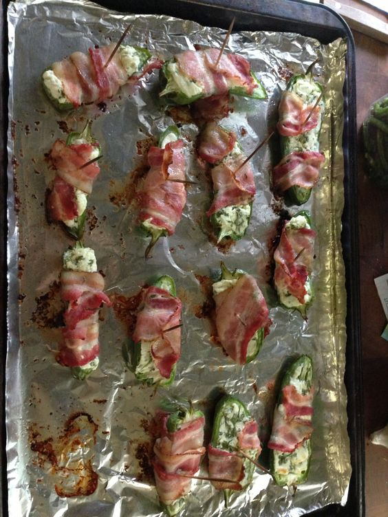 My jalapeño poppers- cilantro mixed in with the cream cheese 450 for 12 min