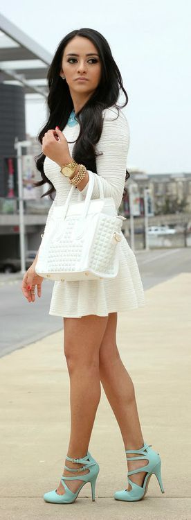 Pretty cute little white dress with turquoise heels and necklace