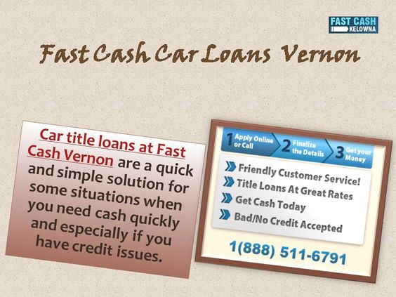 A title loans in vernon is quick way to get your cash with very little hassles. Our whole procedure for applying title loans loan is completely online, we can  approve your loan within few hours . You may have to Submit some documents and answer some questions about your vehicle when you are contacted by our representitative