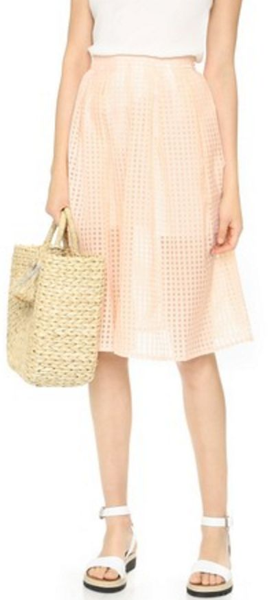 Peach Gingham Organza Skirt