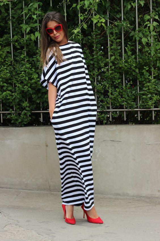 Black & White Striped Maxi Dress Knit Dress por cherryblossomsdress