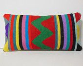 ethnical decor unique pillow colorful Kilim Pillow Throw Pillow kilim cushion lumbar pillow kilim rug pillow cover decorative throw turkish