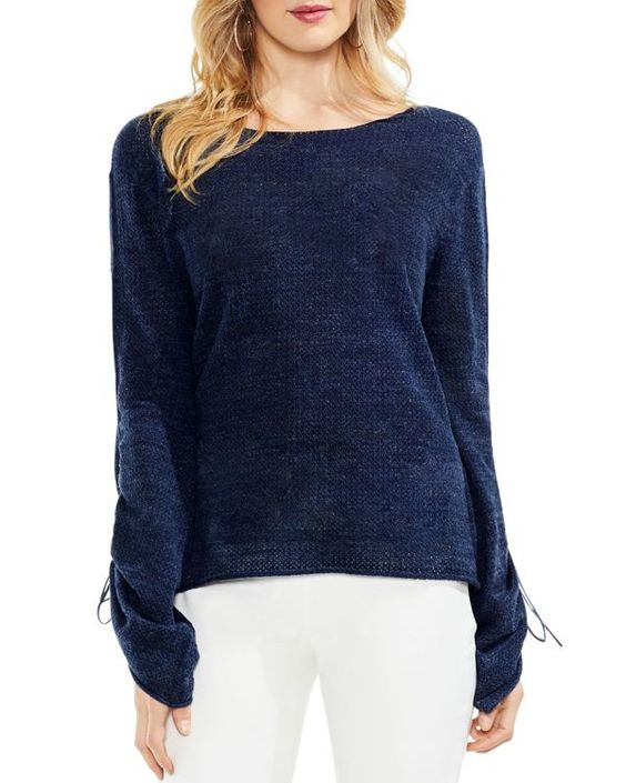 Vince Camuto Drawstring Cuff Pointelle Sweater