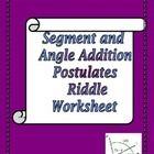 Segment Addition and Angle Addition Postulates Riddle Worksheet ...