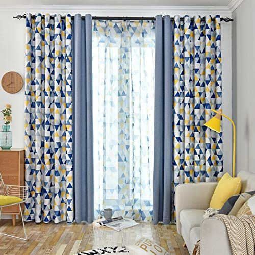 Jarl Home Patio Blackout Curtains For Kids Bedroom Yellow Triangle And Solid Blue Co Yellow Curtains Living Room Curtains Living Room Living Room Decor Colors