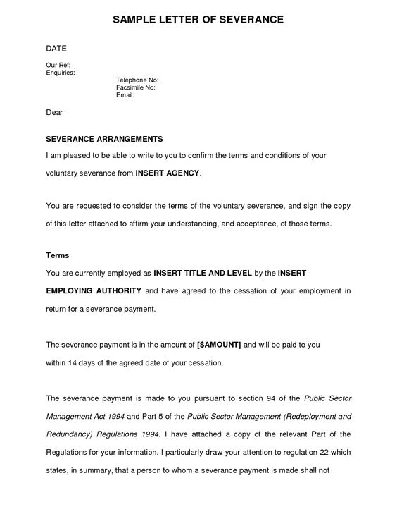 acceptance voluntary redundancy letter template perfect - letter of termination of employment template
