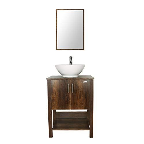 Eclife 24 Bathroom Vanity Sink Combo Brown Cabinet W Round White