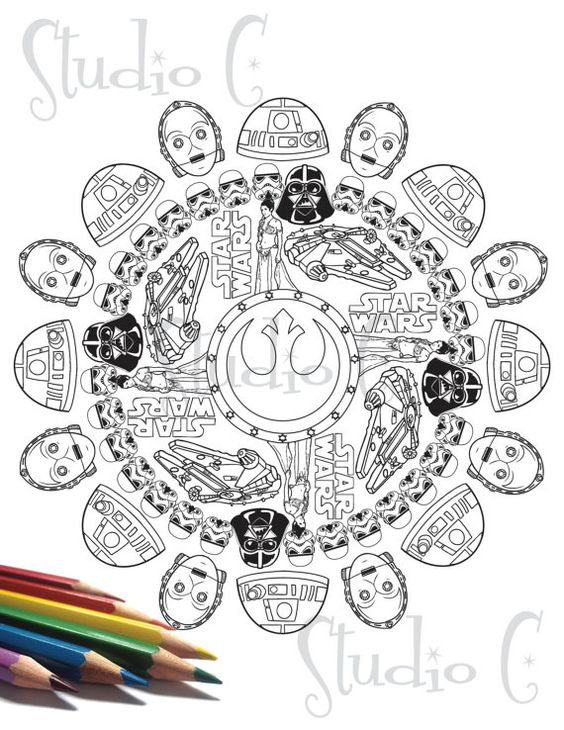 star wars mandala color page by studiocshop on etsy mandalas pinterest colors mandalas. Black Bedroom Furniture Sets. Home Design Ideas