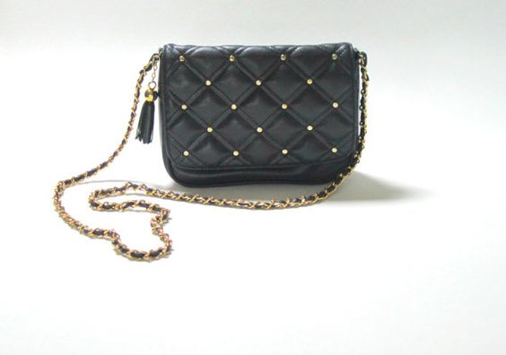 Vintage CHANEL Style Navy Blue Quilted Chain Bag