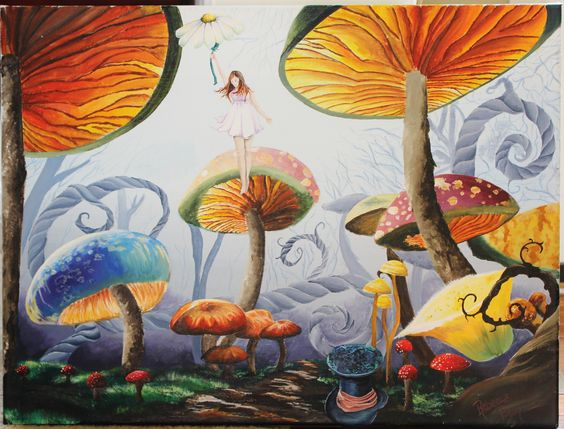 Acrylic painting mushroom forest art pinterest for Painting a forest in acrylics