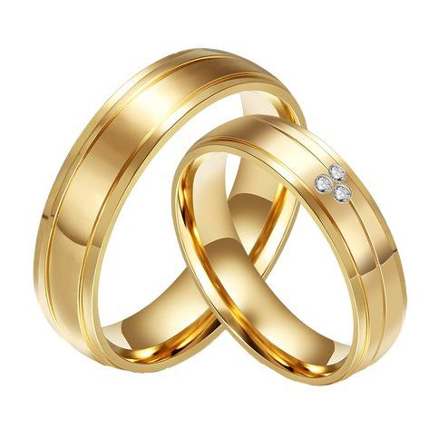 Wedding Ring 18k Gold Stainless Steel Cz Diamond Gold Plated Couple In 2021 Couple Rings Gold Gold Wedding Jewelry Engagement Jewelry