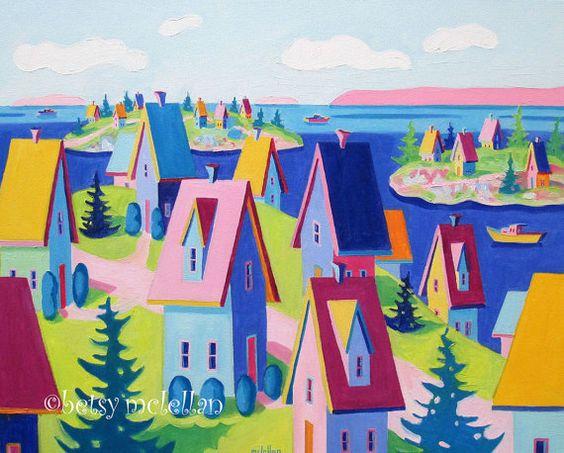 Maine Landscape Whimsical  Original by betsymclellanstudio on Etsy