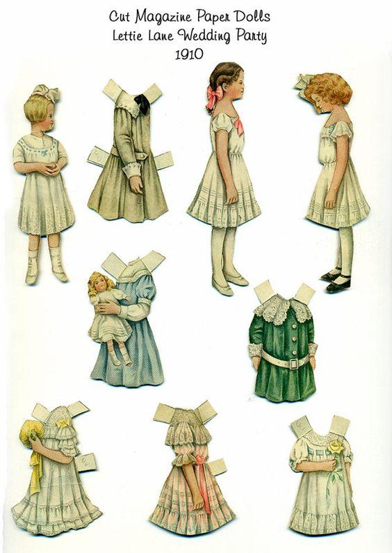Antique Vintage Lettie Lane Magazine Paper Dolls The Wedding Guest Ladies Home Journal Sheila Young 1910 Edwardian Victorian
