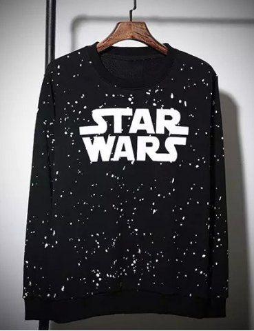 Star Wars Print Splashed Ink Round Neck Long Sleeves Men's Vogue Sweatshirt