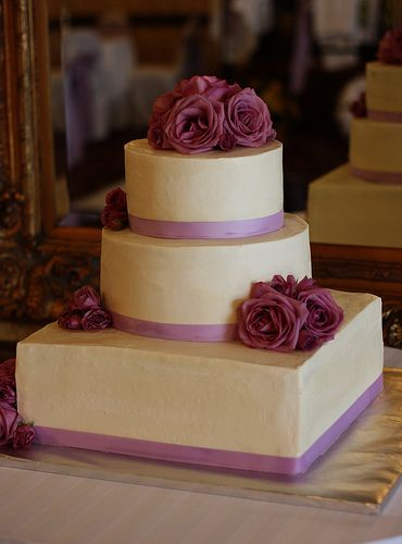 purple gold and ivory cake | Wedding Cake with Purple Fresh Roses , originally uploaded by bakers ...