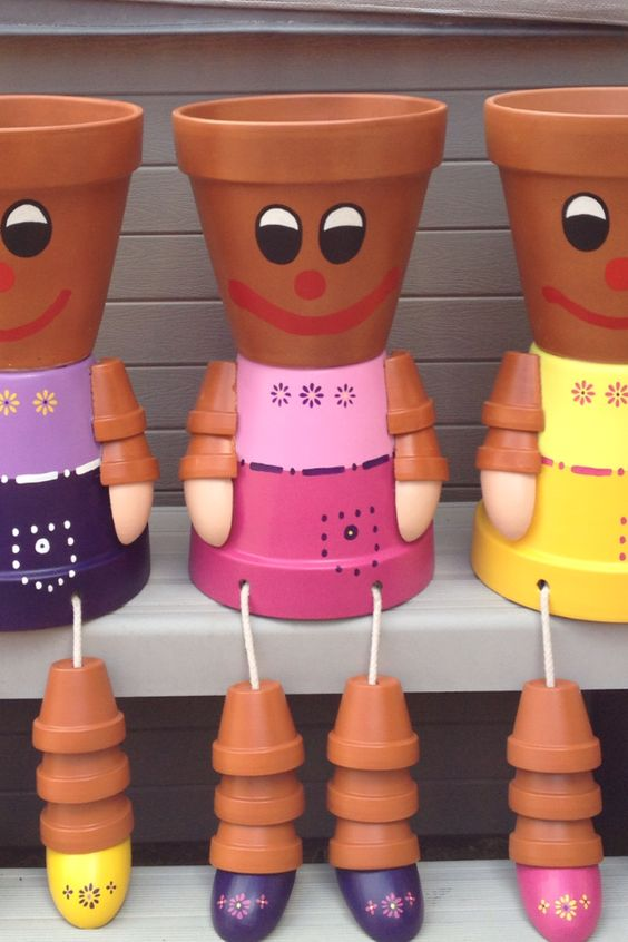 Flower pot people flower pots pinterest gardens for How to make clay pot people