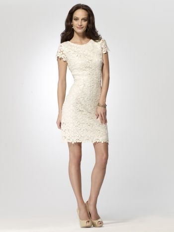 Rehearsal dinner? Short sleeve ivory lace dress with gold foiling ...