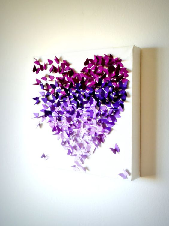 Purple Ombre Classic Butterfly Heart/ 3D Butterfly by RonandNoy