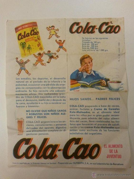 Cartel publicidad de cola-cao, años 60 de 15 x 12 cms - Foto 1: