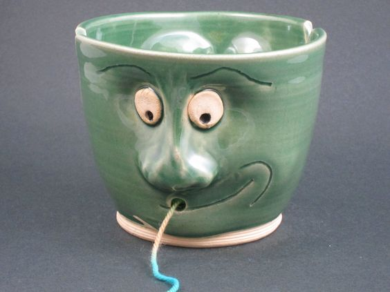 Ceramic Face Yarn Bowl. $50.00, via Etsy.:
