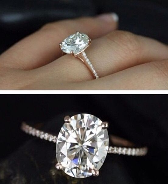 Oval engagement ring. Definitely doesn't need a halo if the diamond is this…