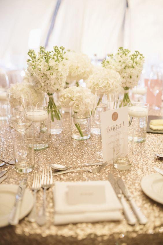 White Flower Centrepieces | Glamorous Black Tie Wedding | Gold Sequinned Bridesmaid Dresses | Yorebridge House & PapaKata Tipi | Images by Matt Ethan Photography | http://www.rockmywedding.co.uk/kate-james/