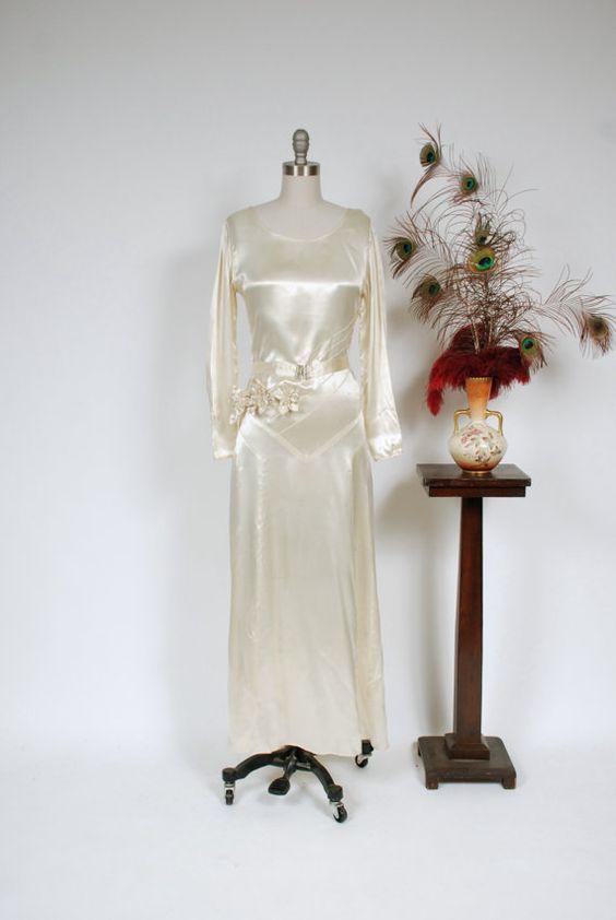 Vintage 1930s Wedding Dress - Gleaming Ivory Rayon Satin Art Deco ...