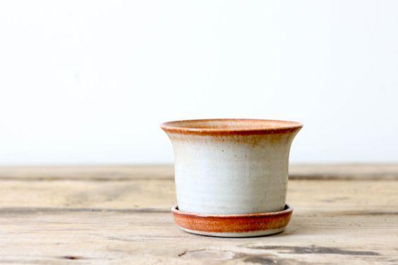 Studio Pottery Flower Pot with Saucer, Vintage North Carolina Pottery