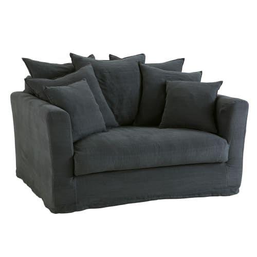 Ausziehbares 1 2 Sitzer Sofa Leinenbezug Kohlegrau Bartholome Maisons Du Monde Leinensofa Dunkelgraues Sofa Couch Mit Schlaffunktion