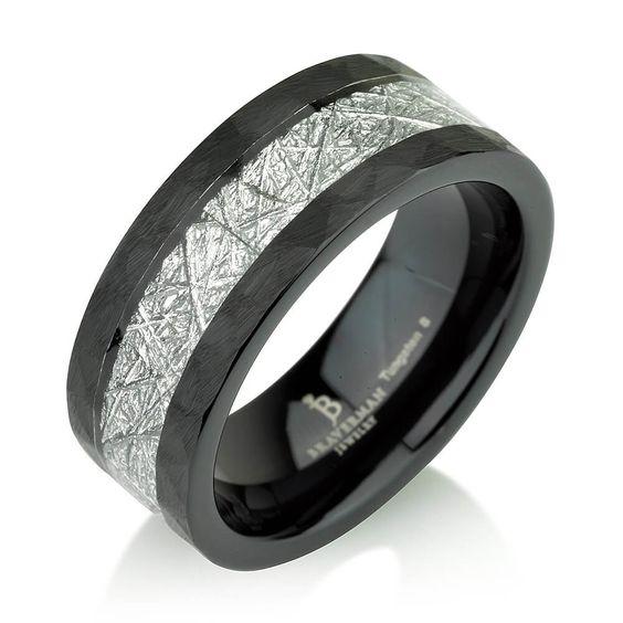 Black Diamond Men Tungsten Wedding Band,Tension Setting Man Tungsten Wedding Ring,April Birthstone,Engagement Ring,His,Hers,Comfort Fit