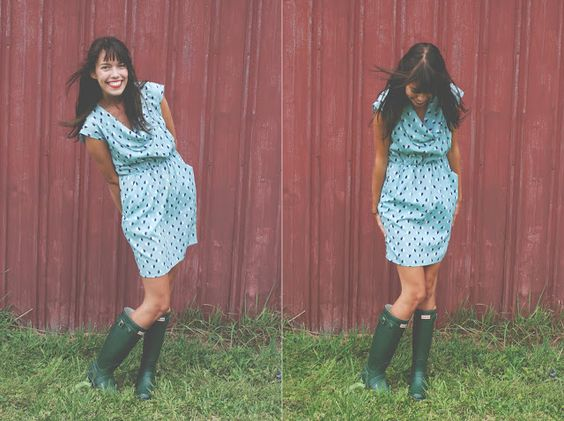 party dress + rain boots