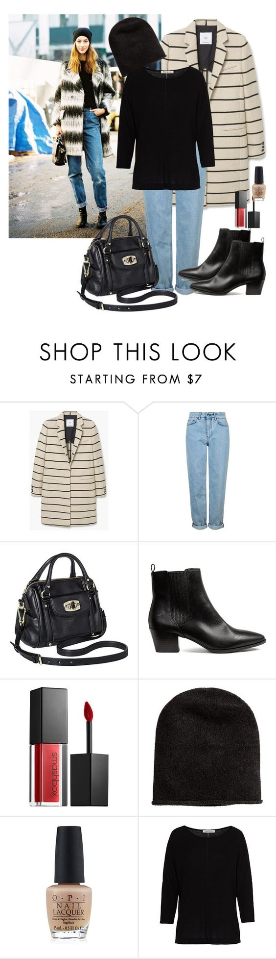 """Boot Season"" by dazzlious ❤ liked on Polyvore featuring MANGO, Topshop, Merona, Smashbox, OPI and Betty Barclay"