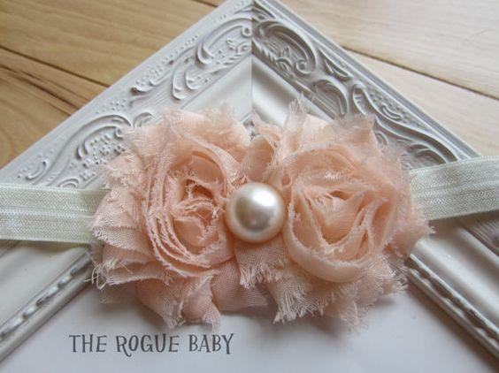 Peach & Ivory Cream Baby Headband   Photo Prop  by TheRogueBaby