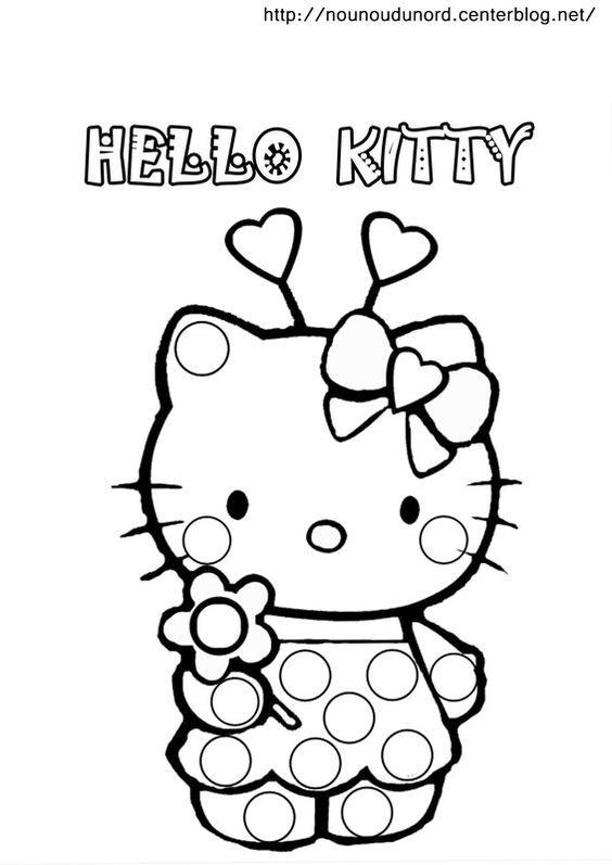Coloriage à gommettes hello kitty dessiné par nounoudunord