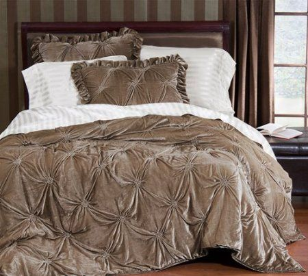 Amazon.com - Empress Silk Velvet Quilt Sets - Queen - Taupe -