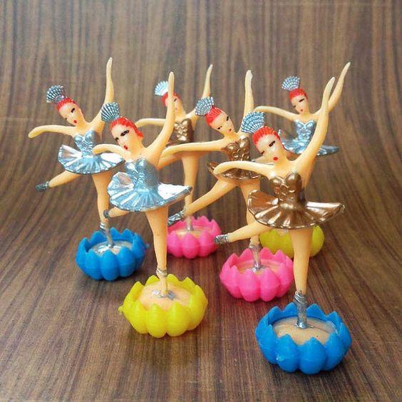 12 Vintage Ballerina Cake Toppers Gold & Silver by CrankyCakesShop